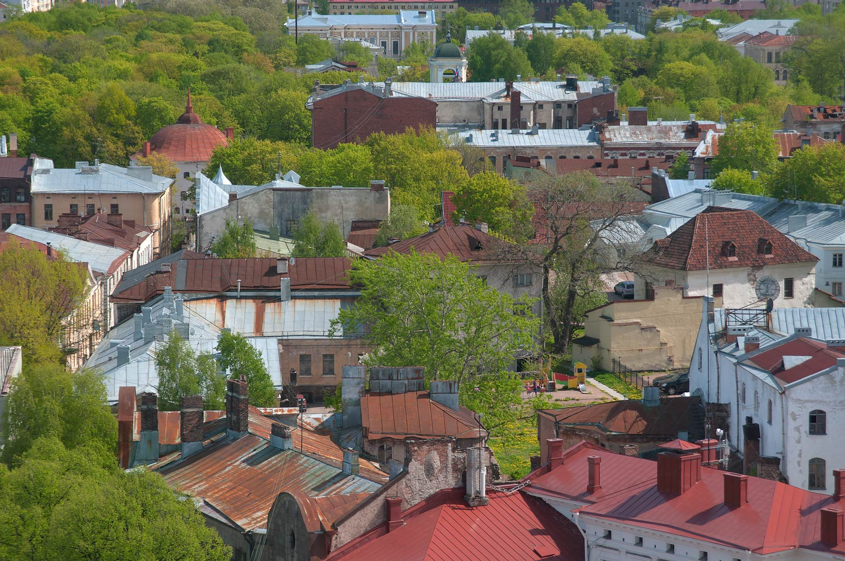 Old City from St.Olaf Tower of Vyborg Castle. Vyborg, Russia