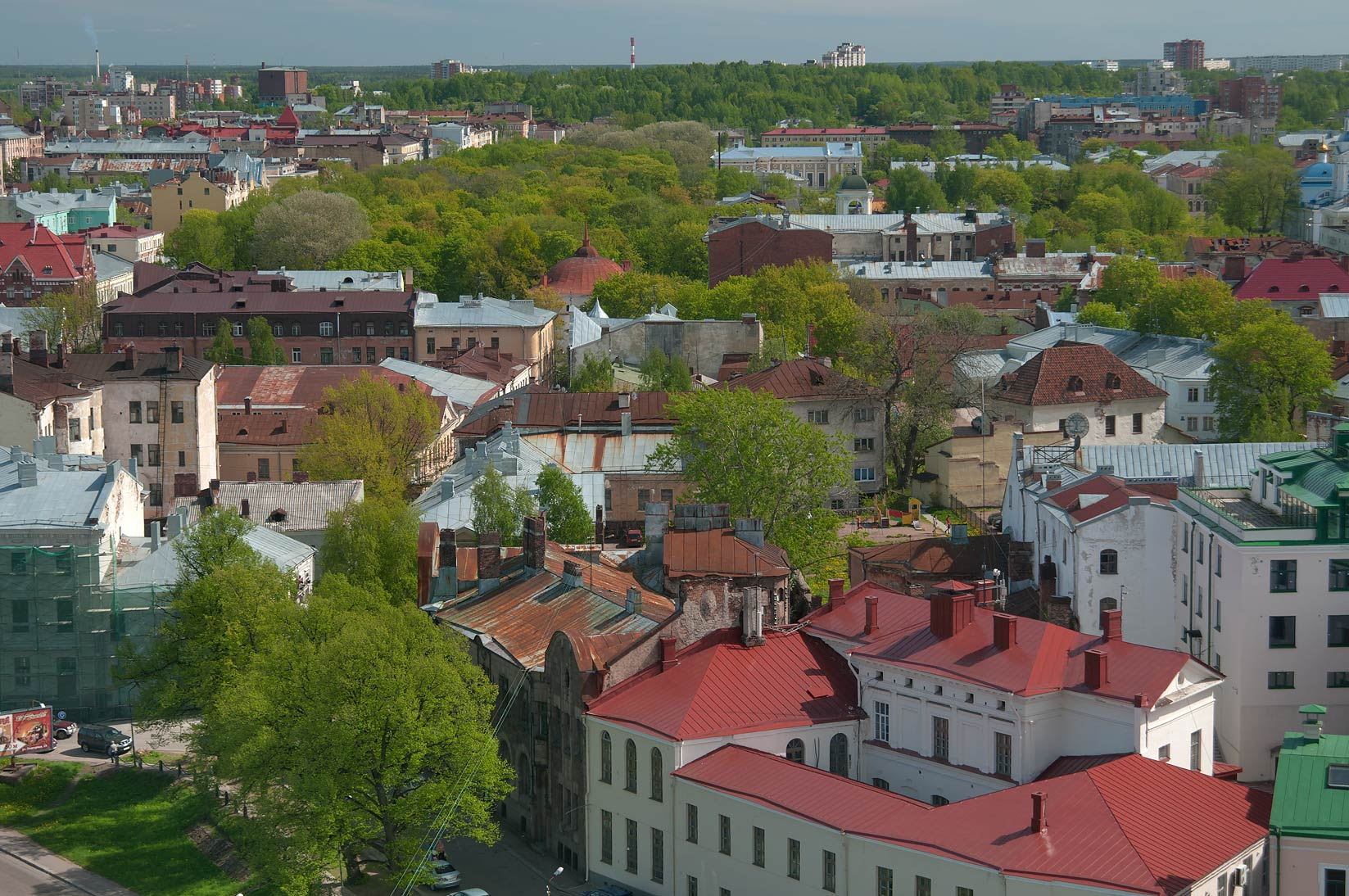 Roofs of the city from St.Olaf Tower of Vyborg Castle. Vyborg, Russia