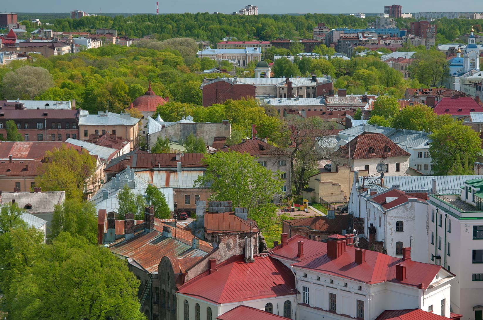 View of Old City from St.Olaf Tower of Vyborg Castle. Vyborg, Russia