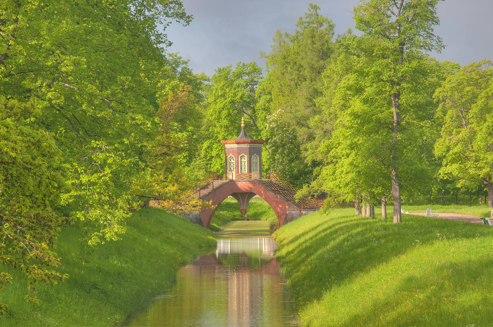 Cross Bridge (Krestovy Most) in a park. Pushkin...south from St.Petersburg, Russia