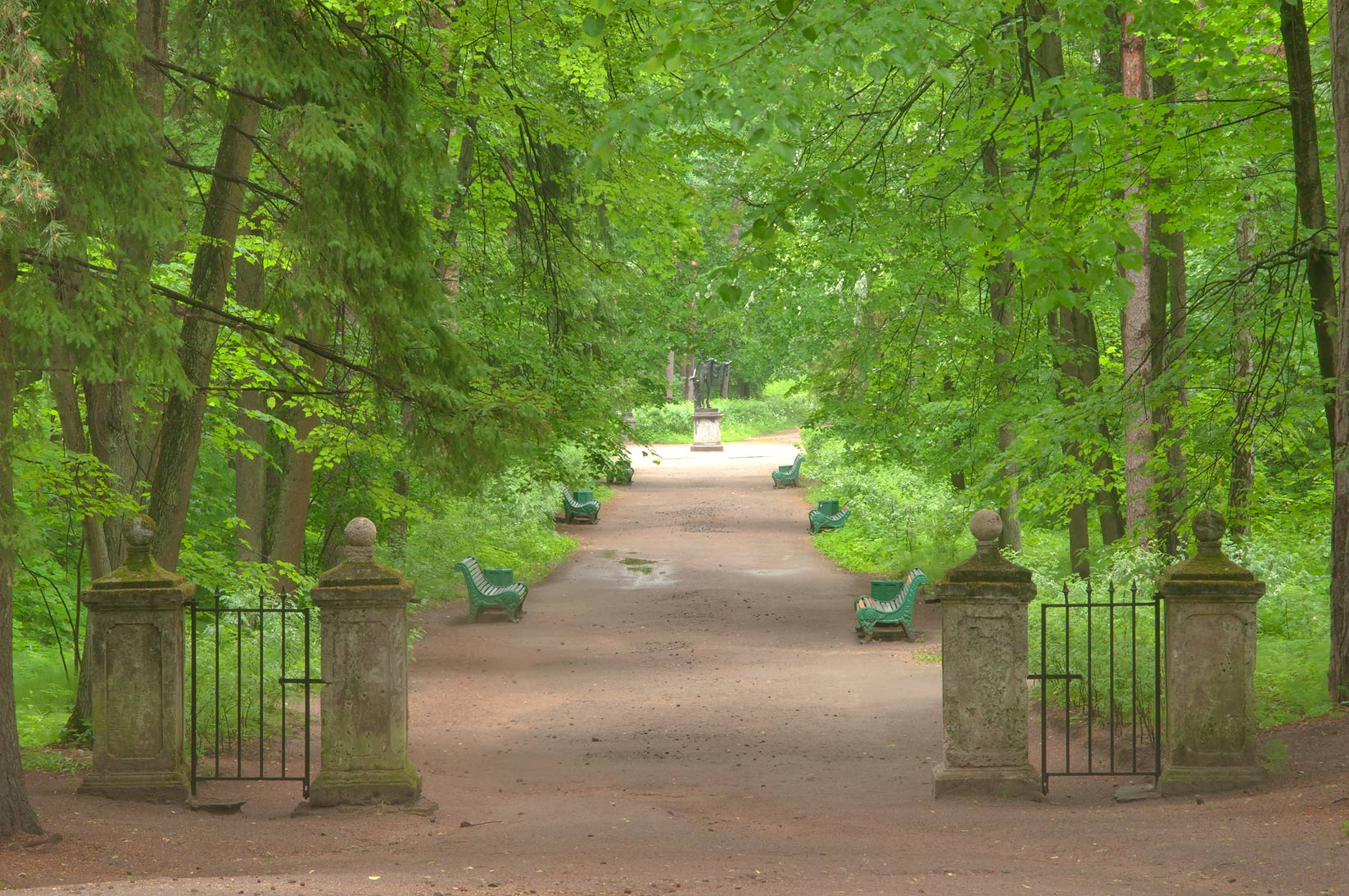 Stone gates of Sylvia in Pavlovsk Park, suburb of St.Petersburg. Russia