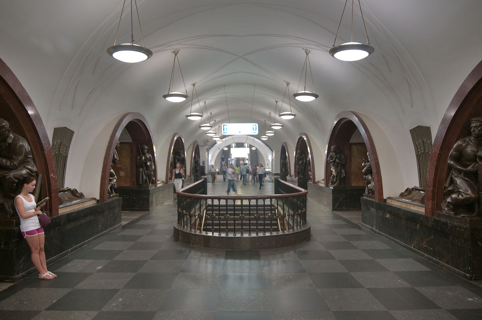 Arched subway station (Metro) Ploshchad Revolutsii. Moscow, Russia