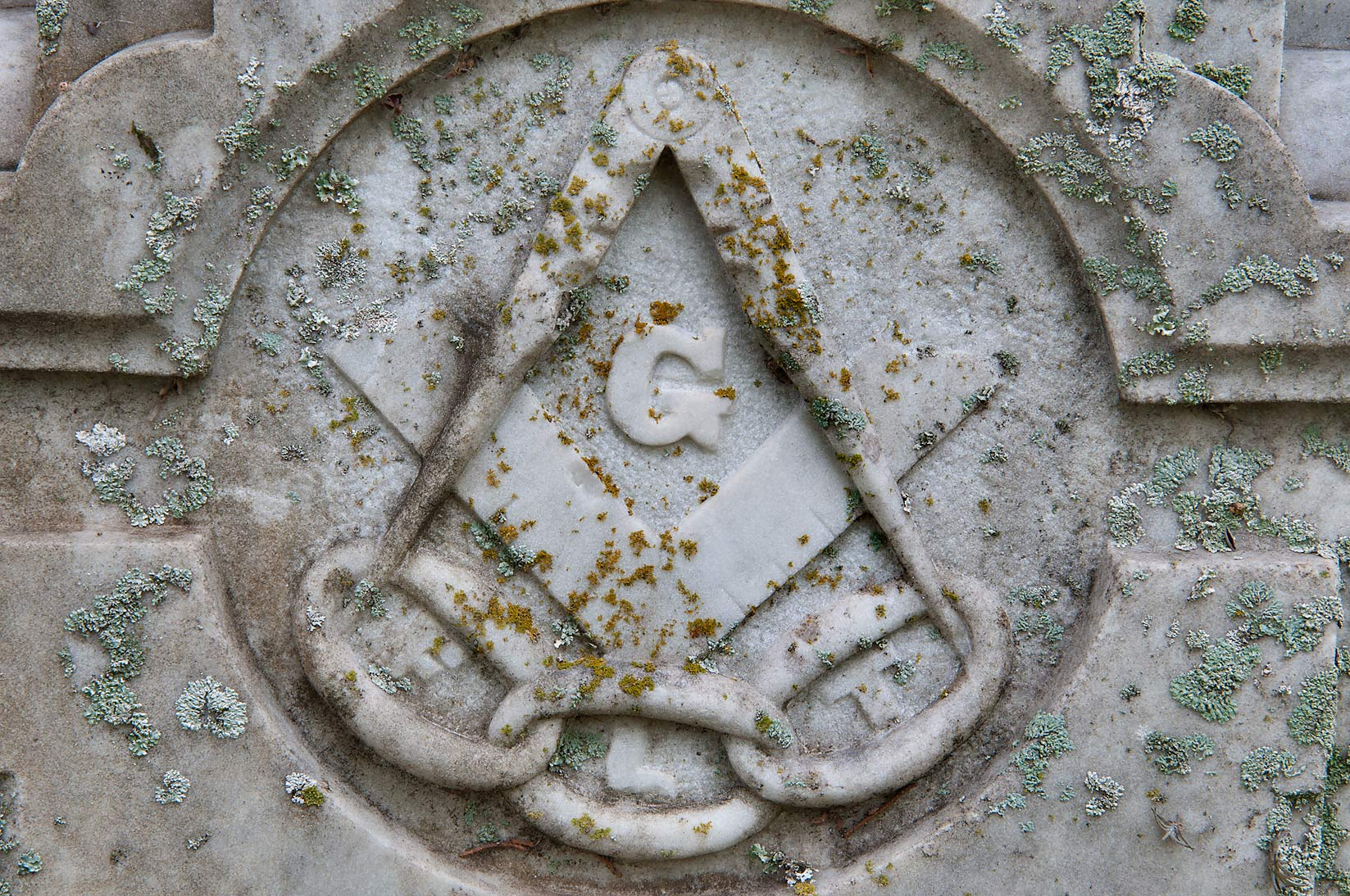 A headstone symbol in Oakwood Cemetery. Huntsville, Texas