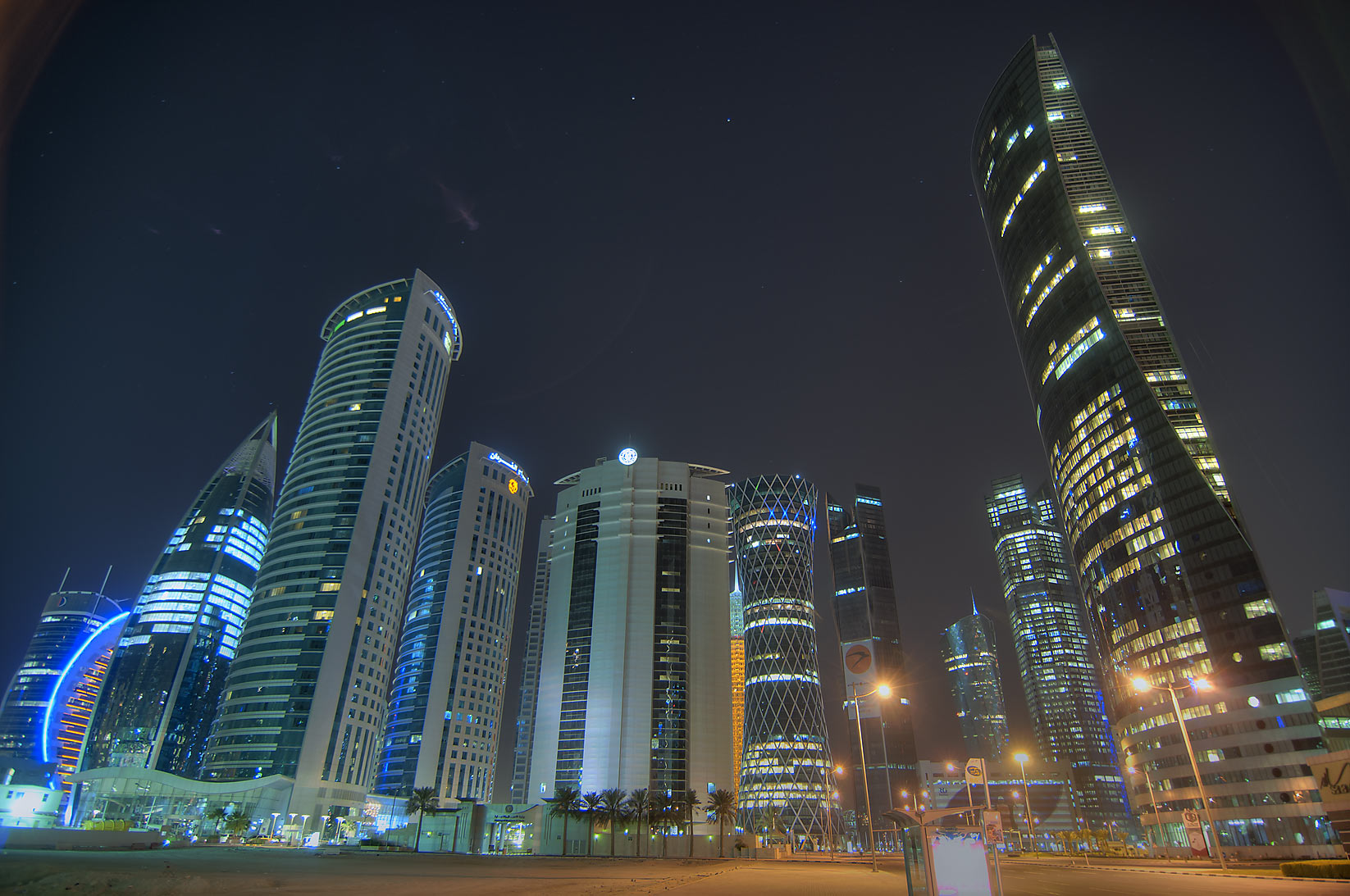 West Bay towers from an empty space behind City Center Mall. Doha, Qatar