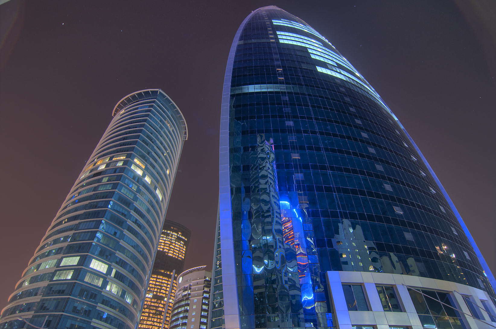 Al Fardan and Woqod towers in West Bay. Doha, Qatar