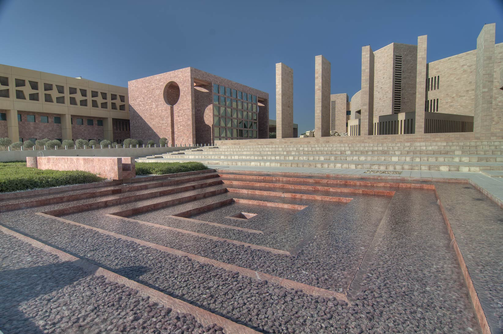 Fountain of Carnegie Melon University in Education City. Doha, Qatar