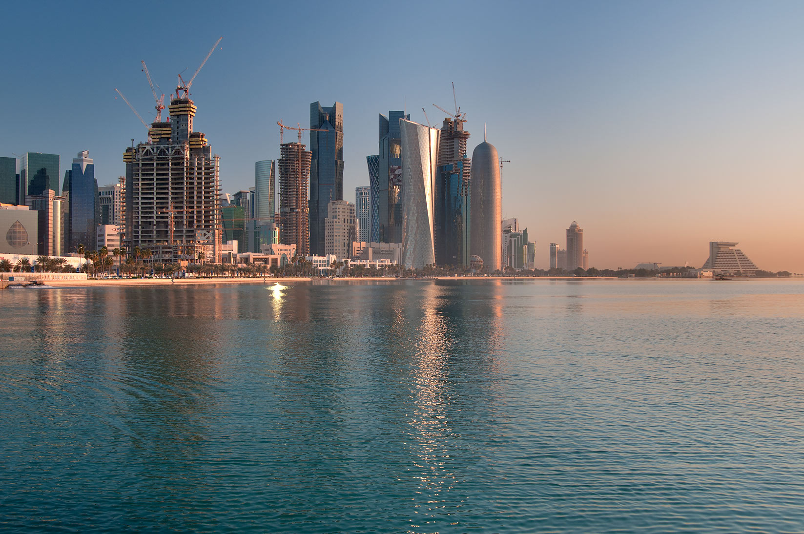West Bay, view from Corniche near Balhambar Restaurant. Doha, Qatar
