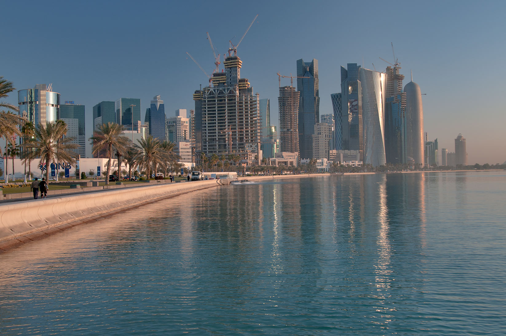 Corniche and West Bay, view from area near Balhambar Restaurant. Doha, Qatar
