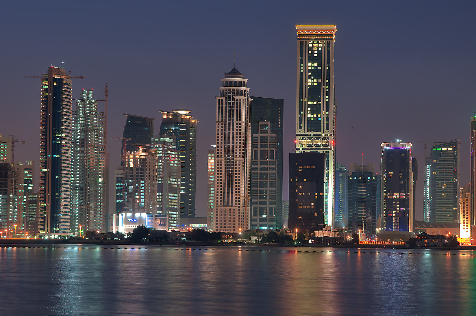 Area of Kempinski and Somerset Hotels in West Bay...Hotel at morning dusk. Doha, Qatar
