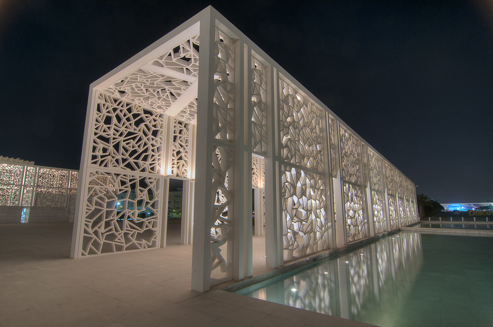 Ornamental walkway of Ceremonial Court on campus of Education City. Doha, Qatar