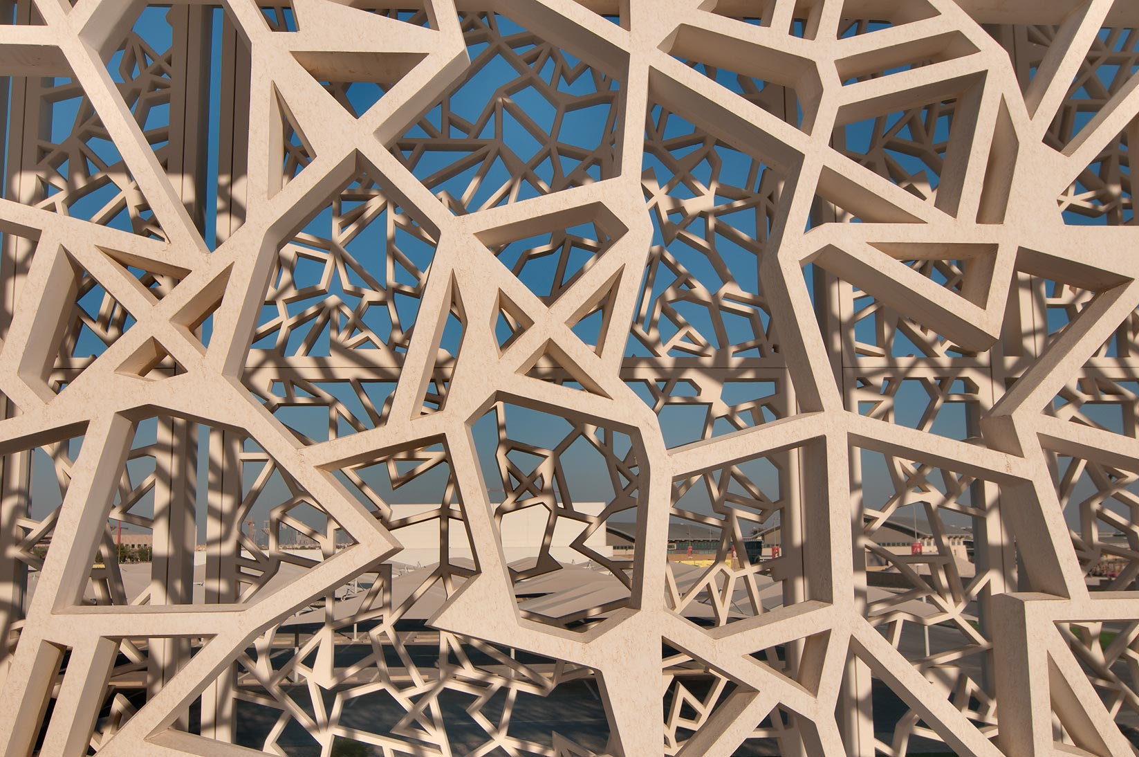 Latticework of patterned passageway of Ceremonial...in Education City campus. Doha, Qatar