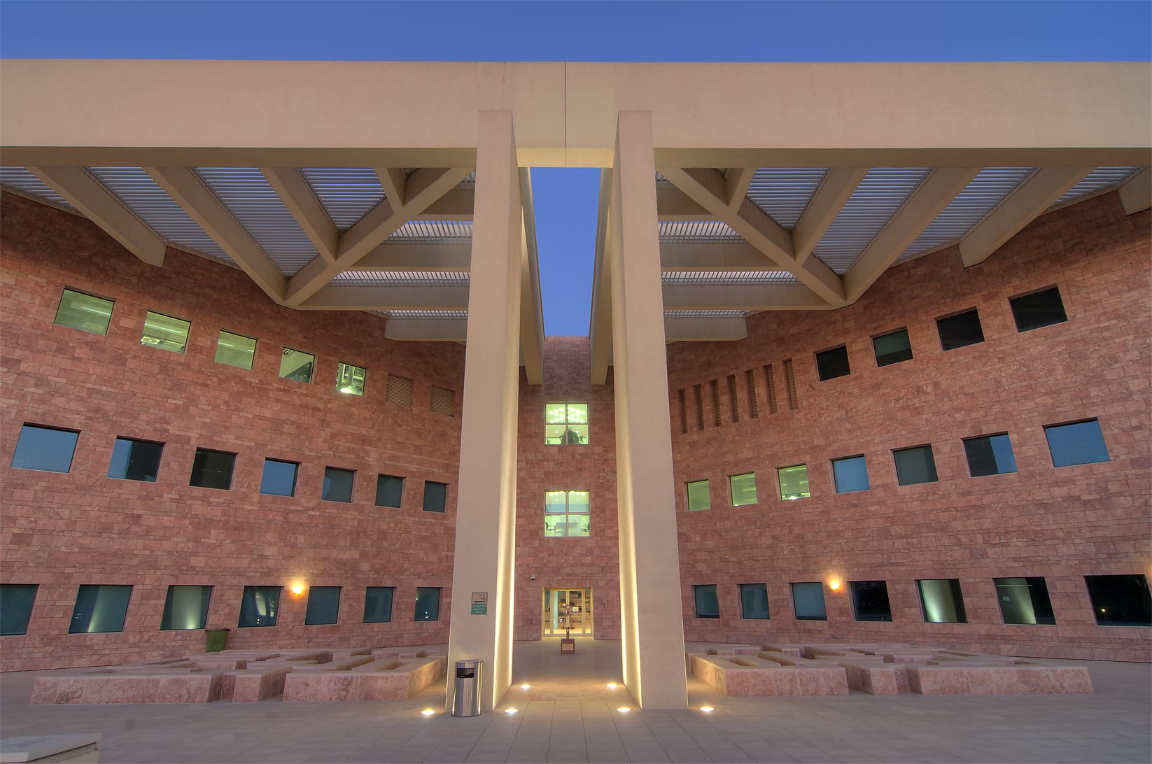 West entrance of TAMUQ research area (Texas A and...City campus, at evening. Doha, Qatar
