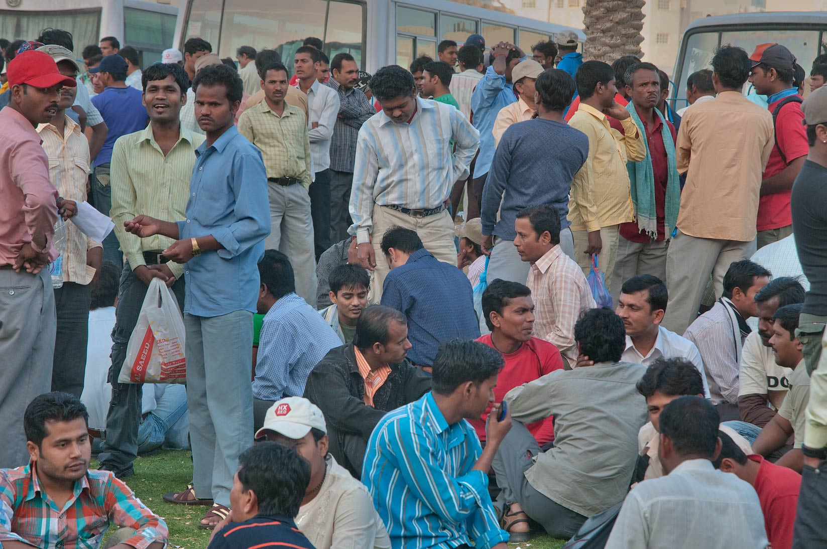 Migrant workers gathering near Central Bus Station Al Ghanim on Friday. Doha, Qatar