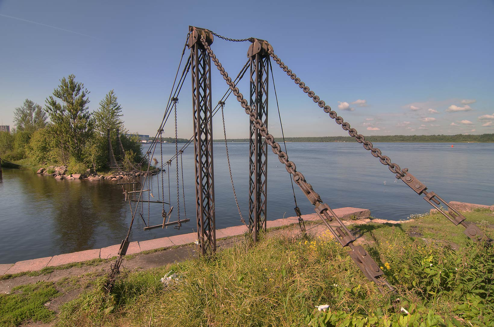 Old suspension bridge. Shlisselburg, Leningradskaya Region, Russia