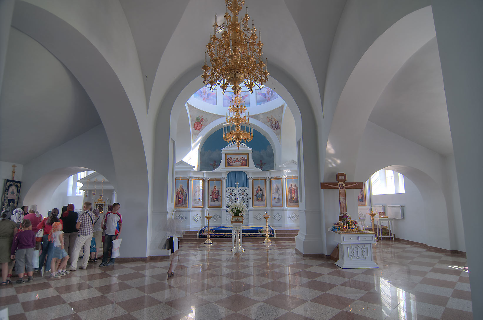 Interior of a cathedral of Pokrovo Tervenichi...Pole, Leningrad Region, Russia