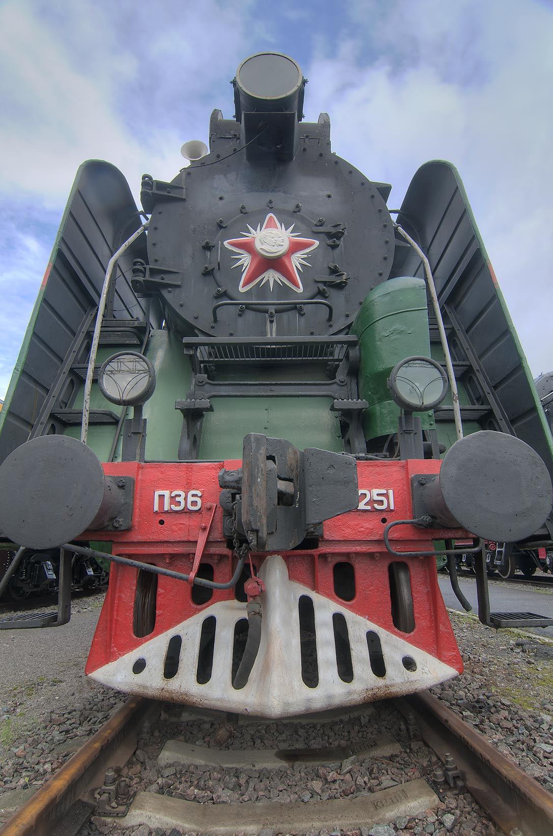 Russian steam train in a railroad museum on...Train Station. St.Petersburg, Russia
