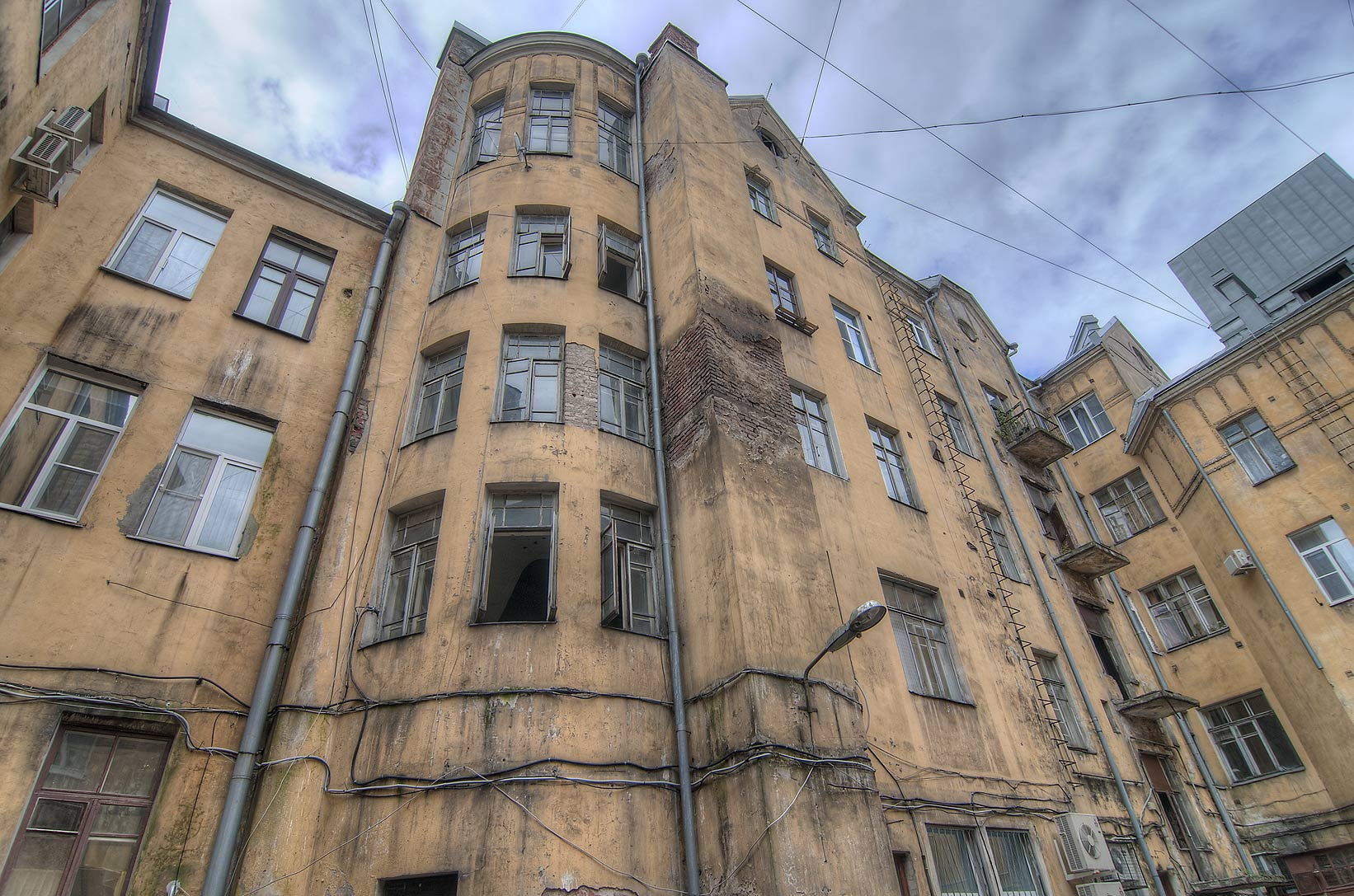 Back view of buildings 6 Lenina St.. Vyborg, Russia