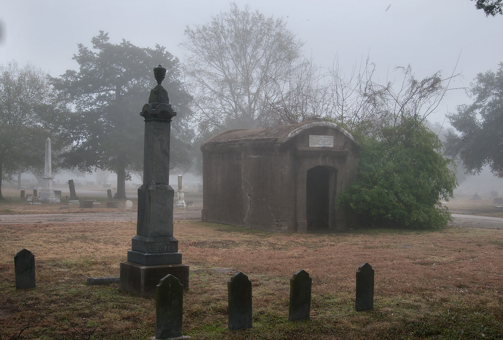 Crypt in City Cemetery in fog. Bryan, Texas
