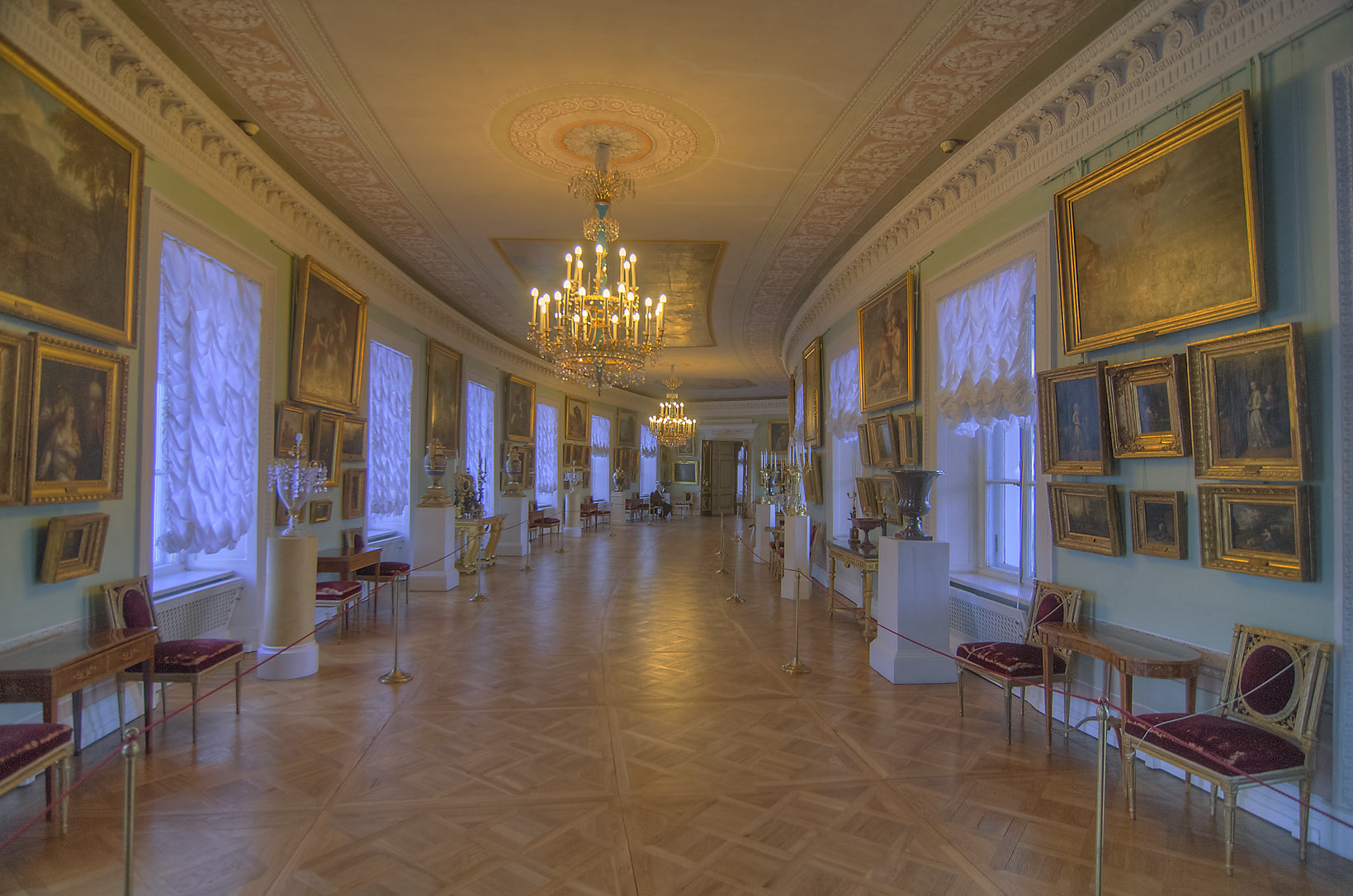 Curved gallery in Pavlovsky Palace. Pavlovsk, a suburb of St.Petersburg, Russia