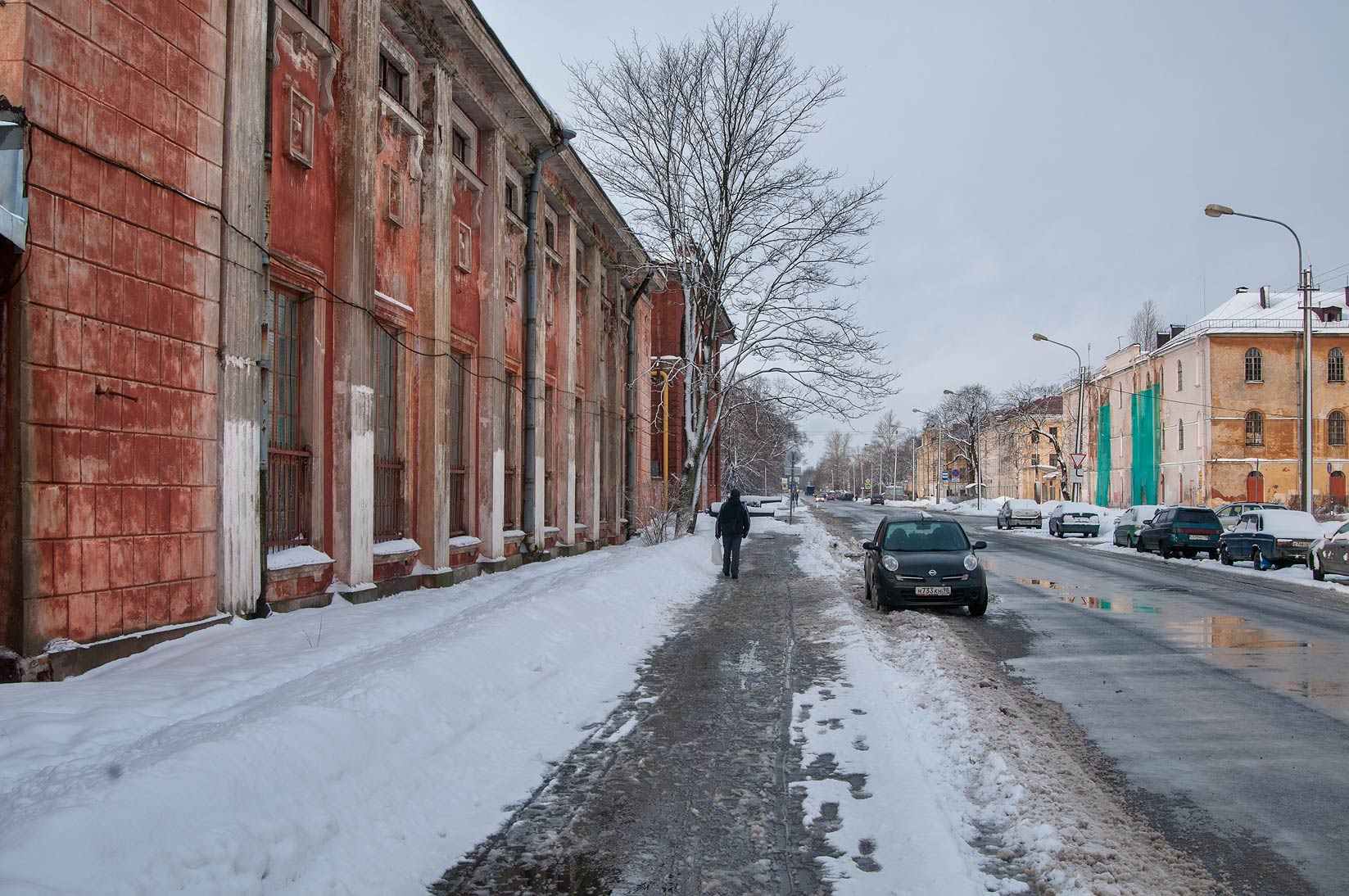Petrovskaya St. in snow. Kronstadt (part of St.Petersburg), Russia