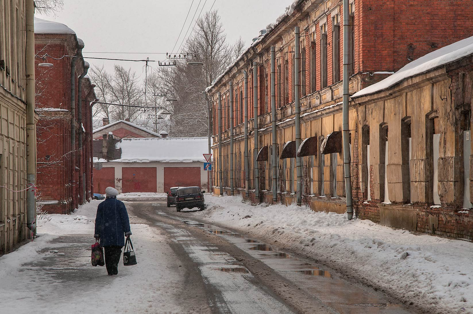 South end of Komsomola St. in snow. Kronstadt (part of St.Petersburg), Russia
