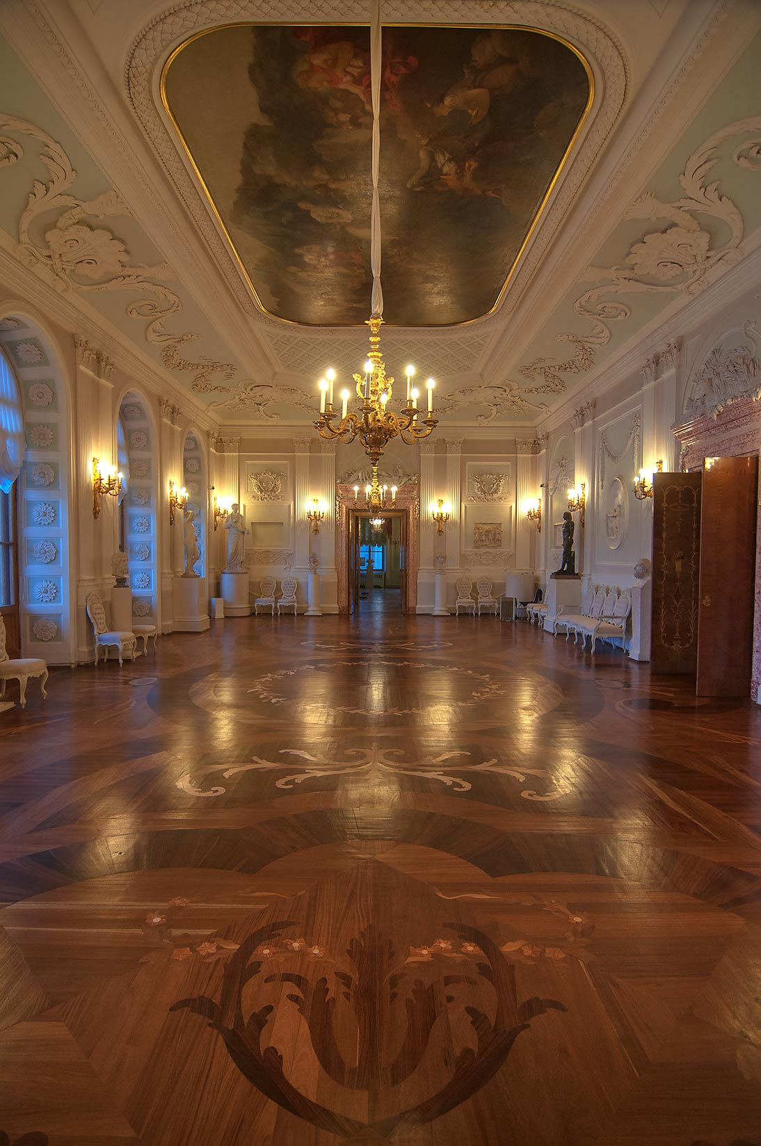 Parquet in a hall in Gatchina Palace. Gatchina, suburb of St.Petersburg, Russia
