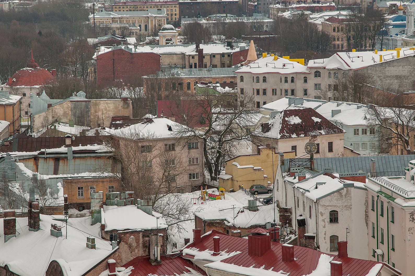 Area in old city from St. Olaf Tower of Vyborg Castle. Vyborg, Russia