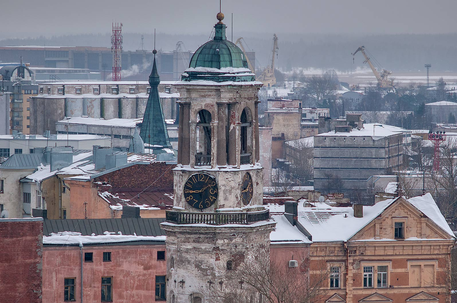Clock Tower and old city from St. Olaf Tower of Vyborg Castle. Vyborg, Russia