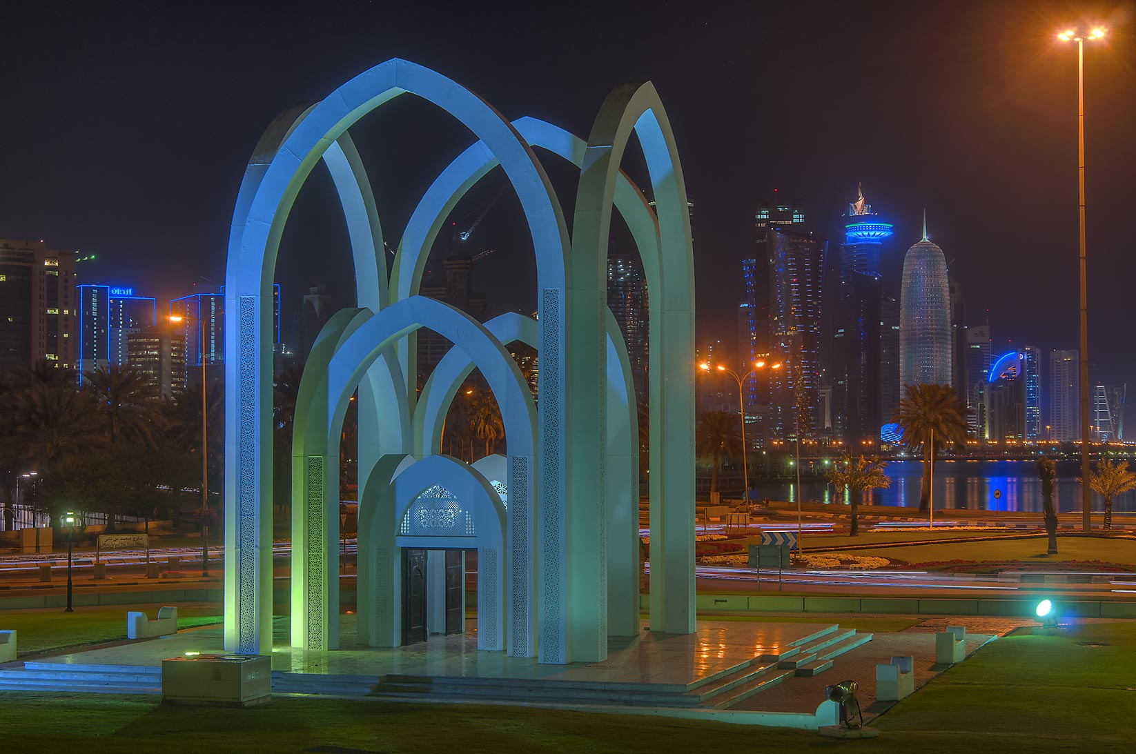 Doha, Musheirib and West Bay  - Arches of Al Bidda Park. Doha, Qatar