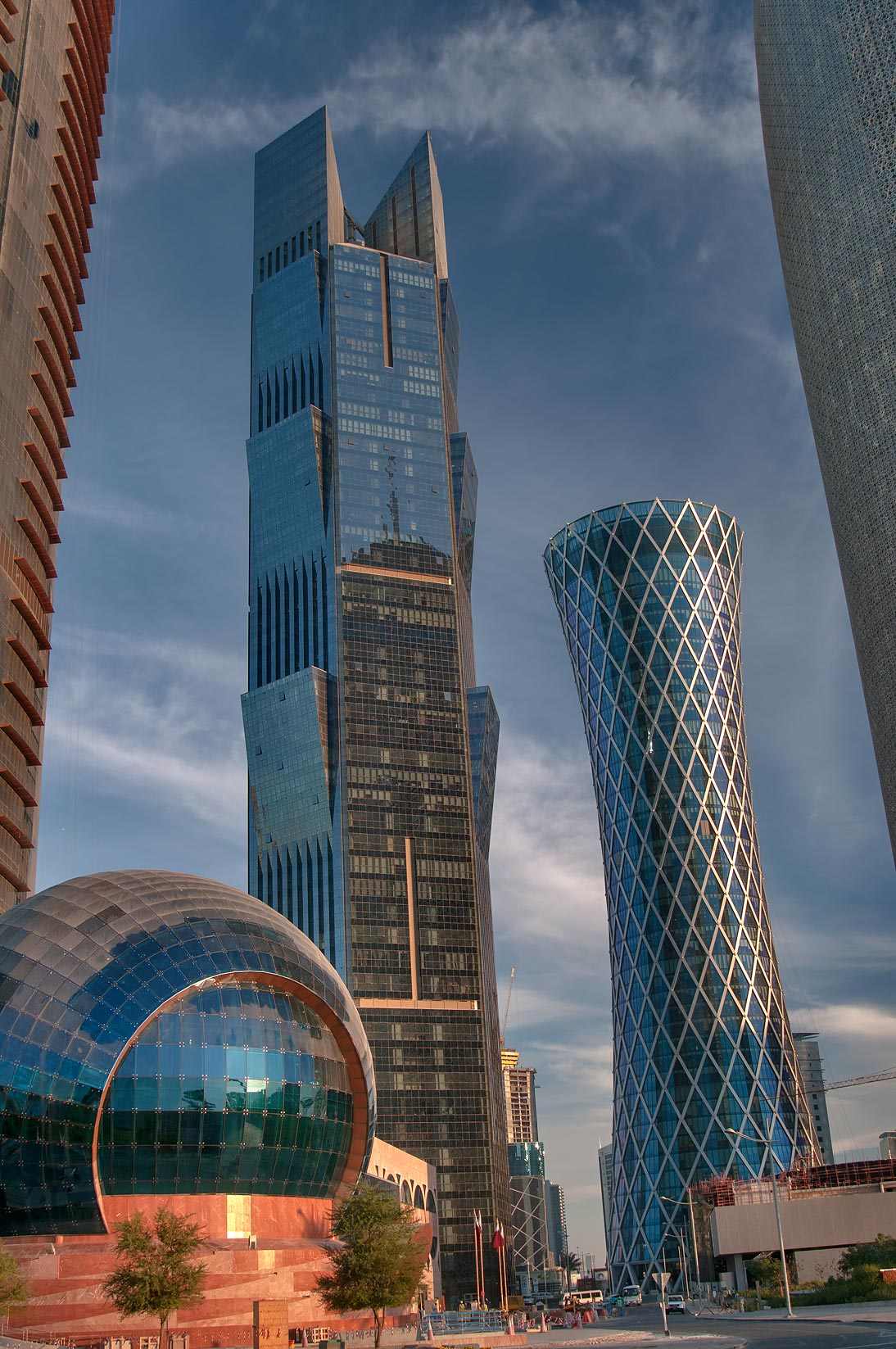Ball of Trade Center, Palm, and Tornado towers in West Bay. Doha, Qatar