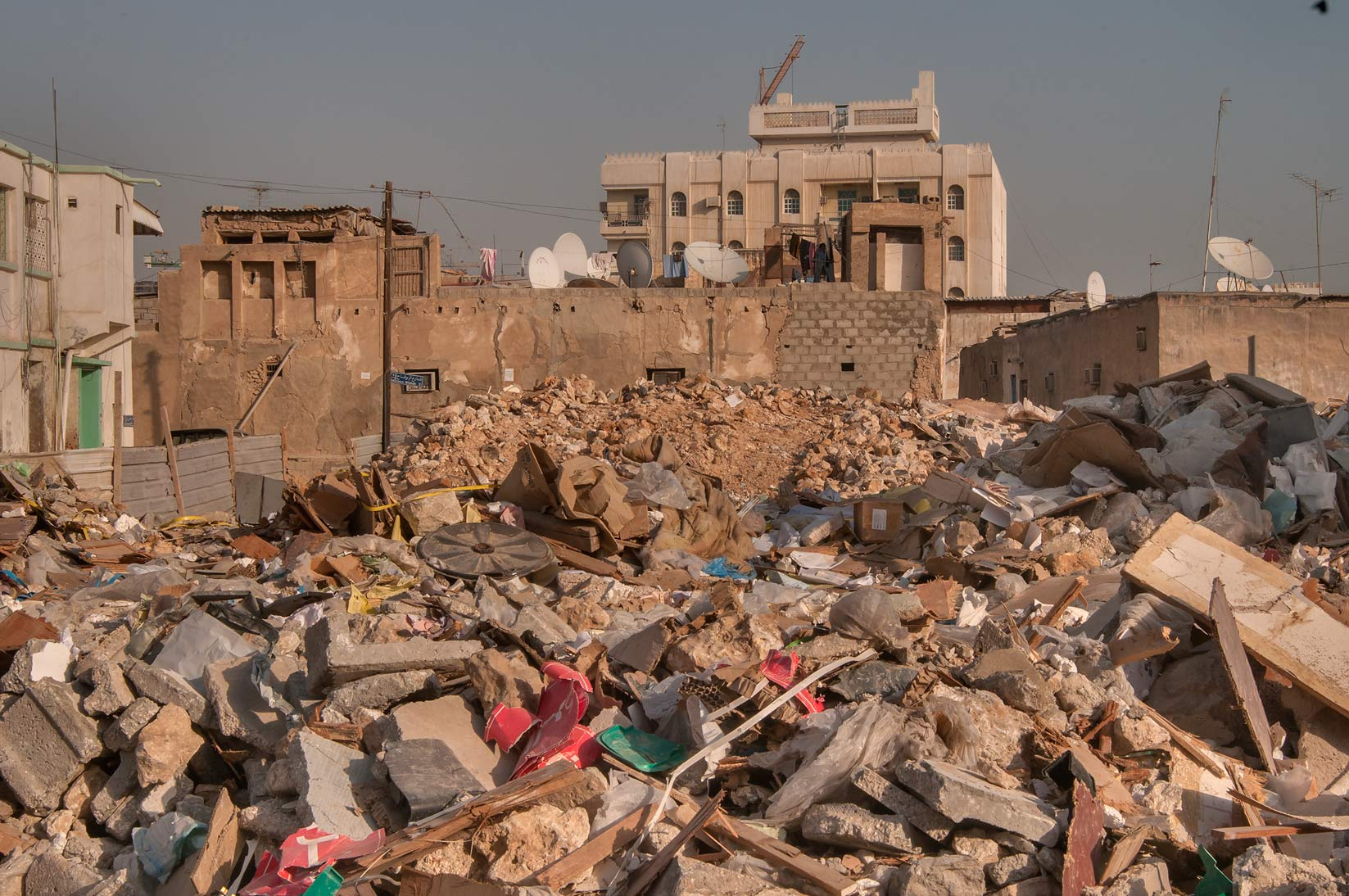 Rubble near Al Maymoun St., Musheirib area. Doha, Qatar