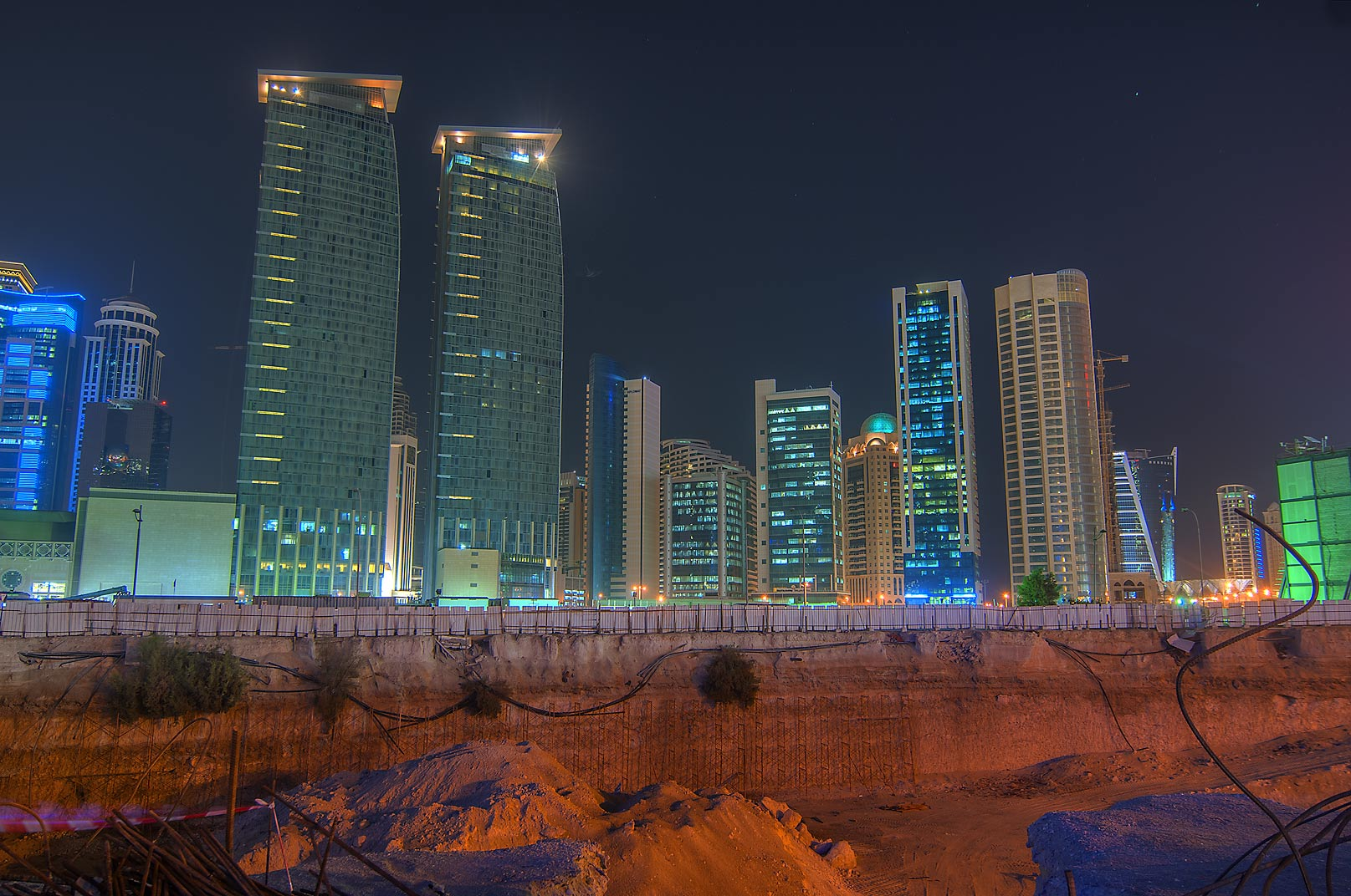 Construction near Corniche in West Bay. Doha, Qatar