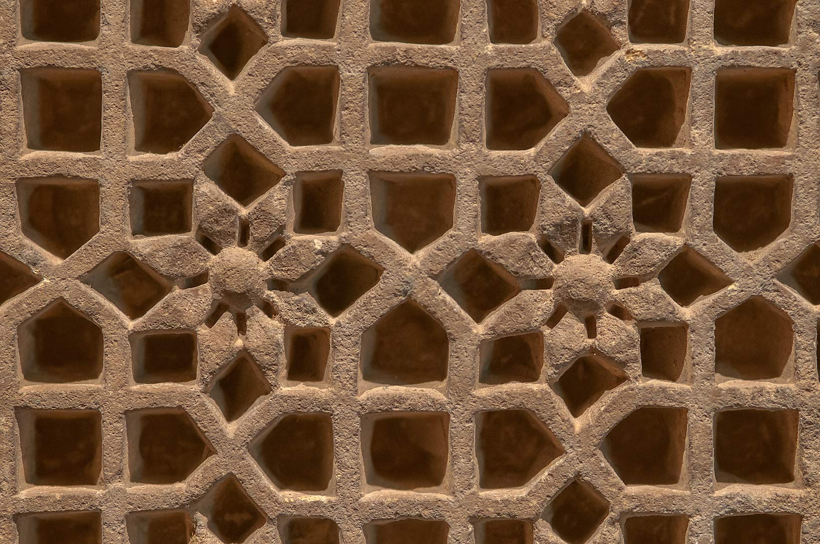 Pottery grid on display in Museum of Islamic Art. Doha, Qatar