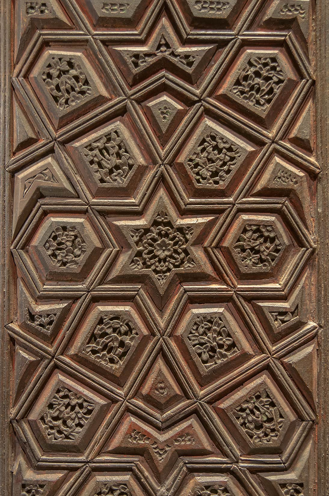 Wooden door panel in Museum of Islamic Art. Doha, Qatar