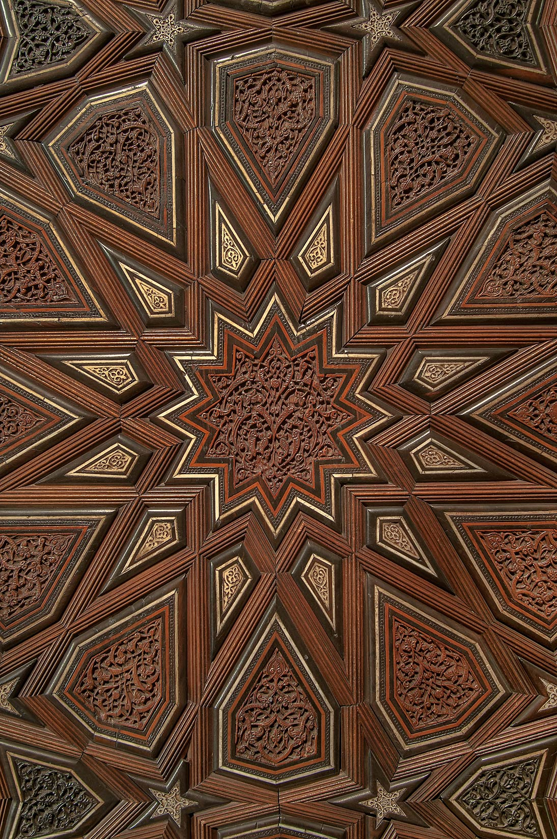 Detail of pattern on a door in Museum of Islamic Art. Doha, Qatar