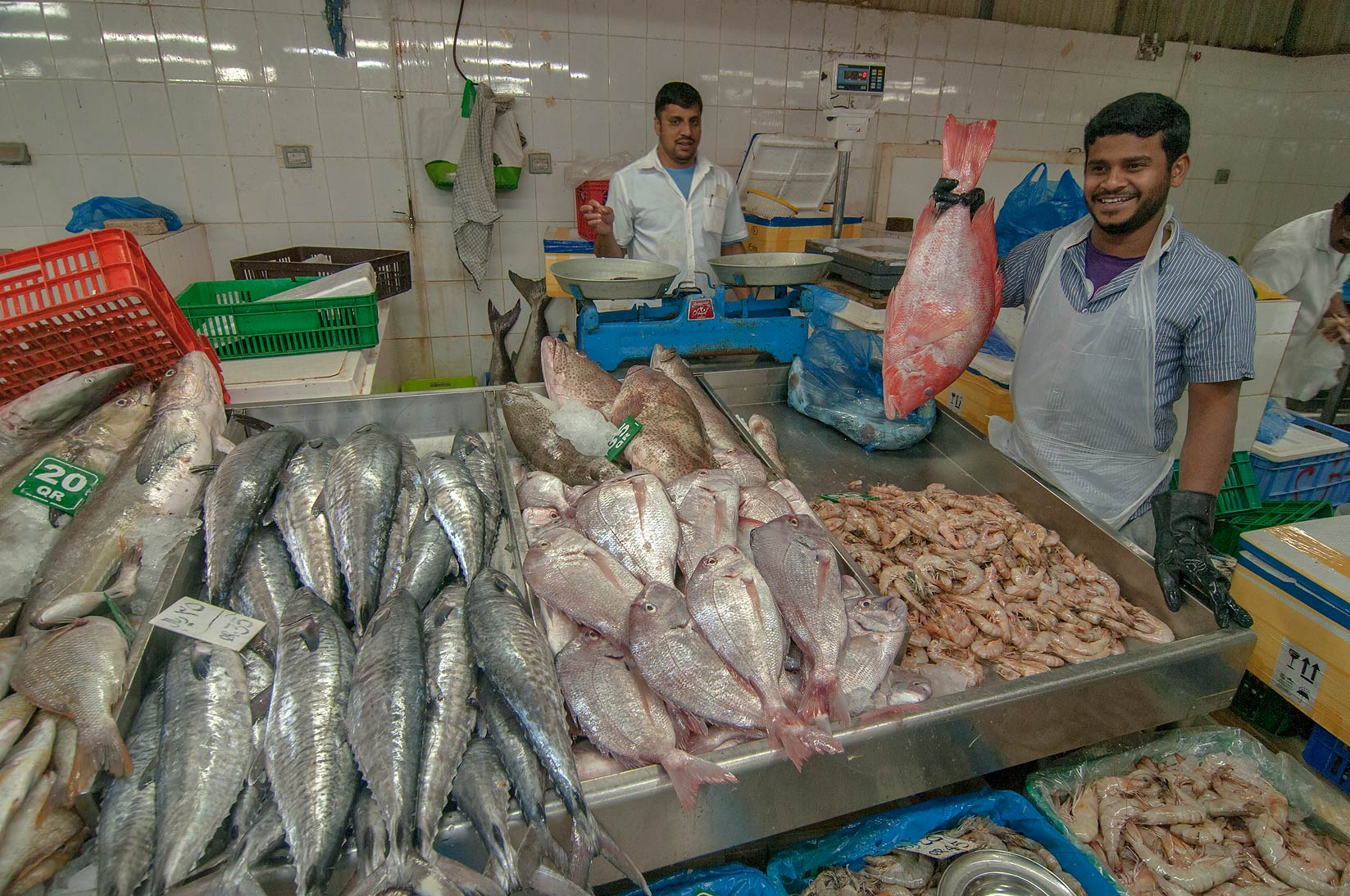 Sellers in Central Fish Market, Abu Hamour area. Doha, Qatar
