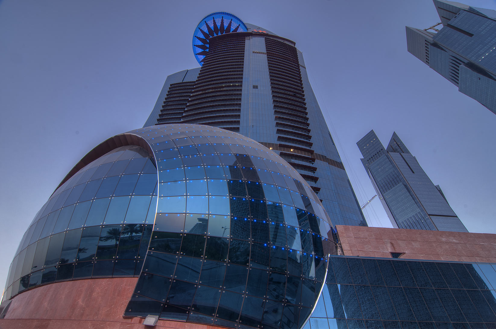 Spherical structure of WTC Tower in West Bay near Corniche. Doha, Qatar