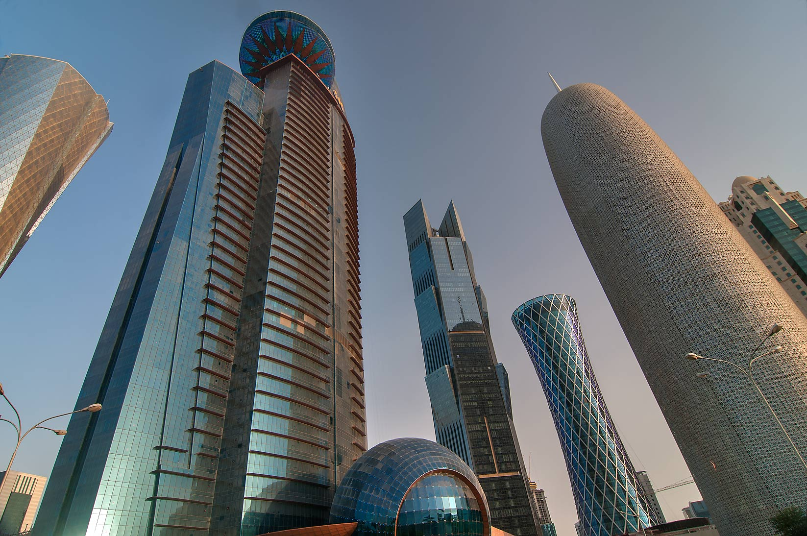 Area of WTC Tower in West Bay from Corniche promenade at sunrise. Doha, Qatar