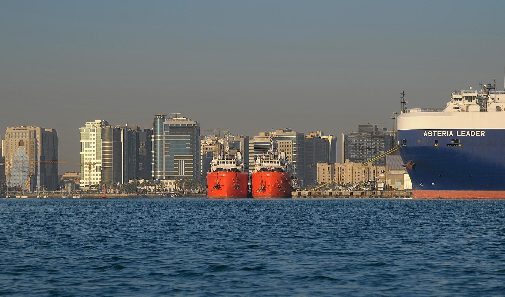 View of Sea Port in Doha from a boat. Qatar