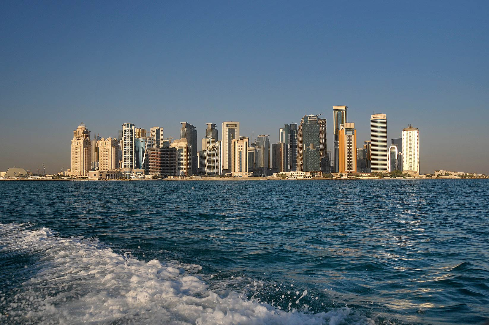 View of West Bay in Doha from a boat. Qatar