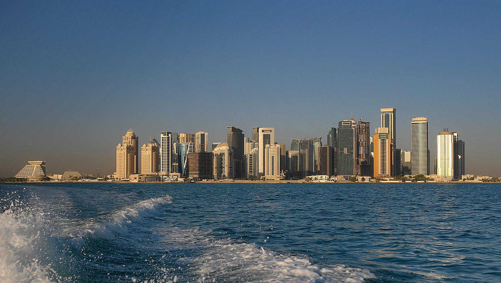 View of West Bay area in Doha from a boat. Qatar