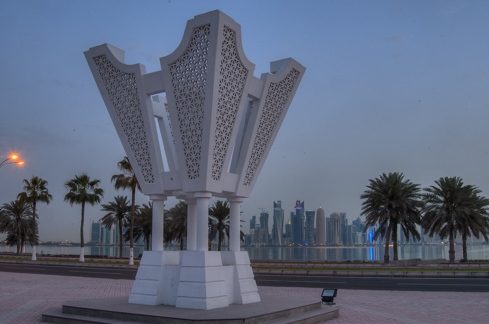 Street sculpture of incense burner near Corniche. Doha, Qatar