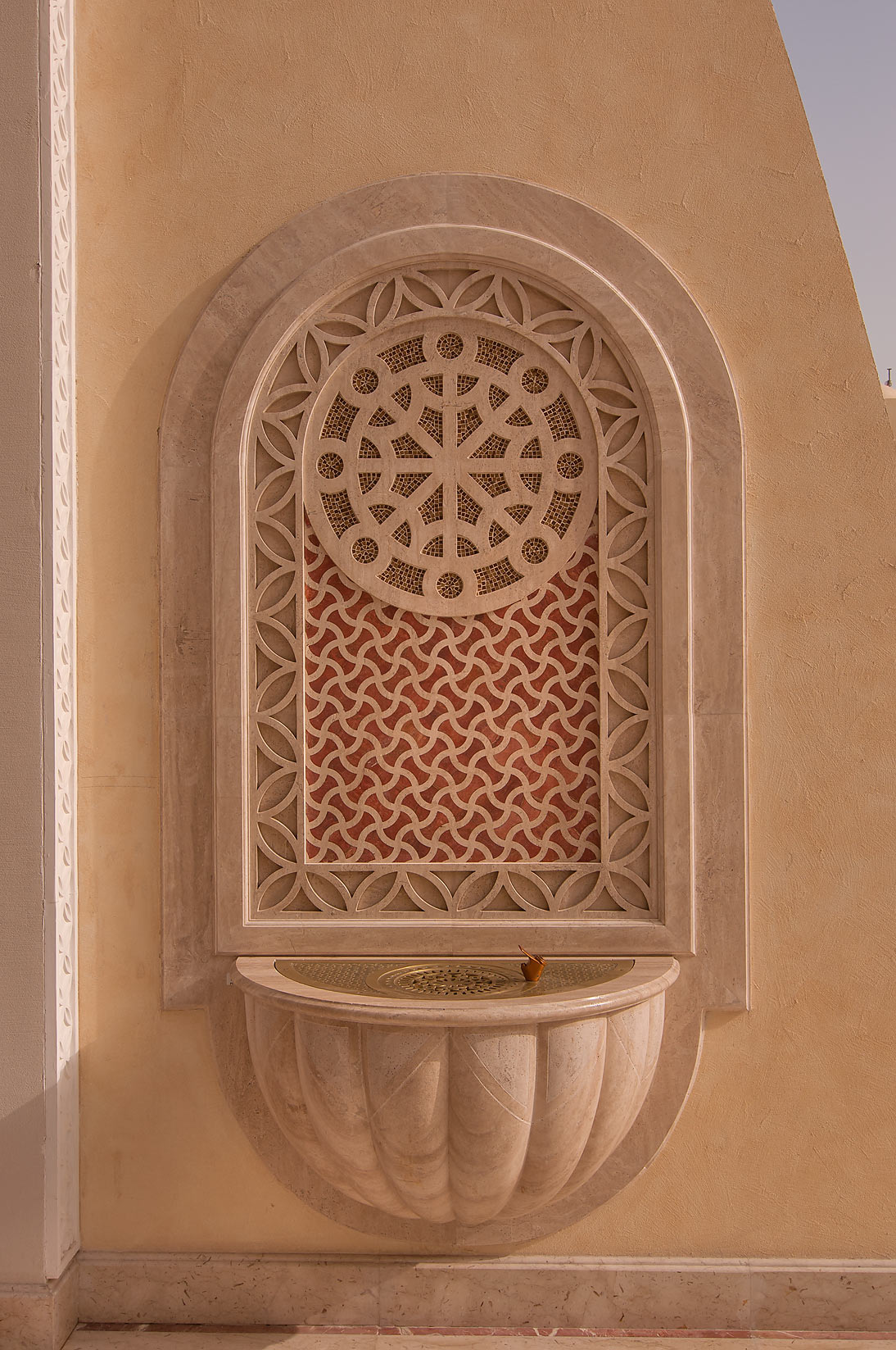 Drinking fountain in courtyard of State Mosque...Ibn Abdul Wahhab Mosque). Doha, Qatar