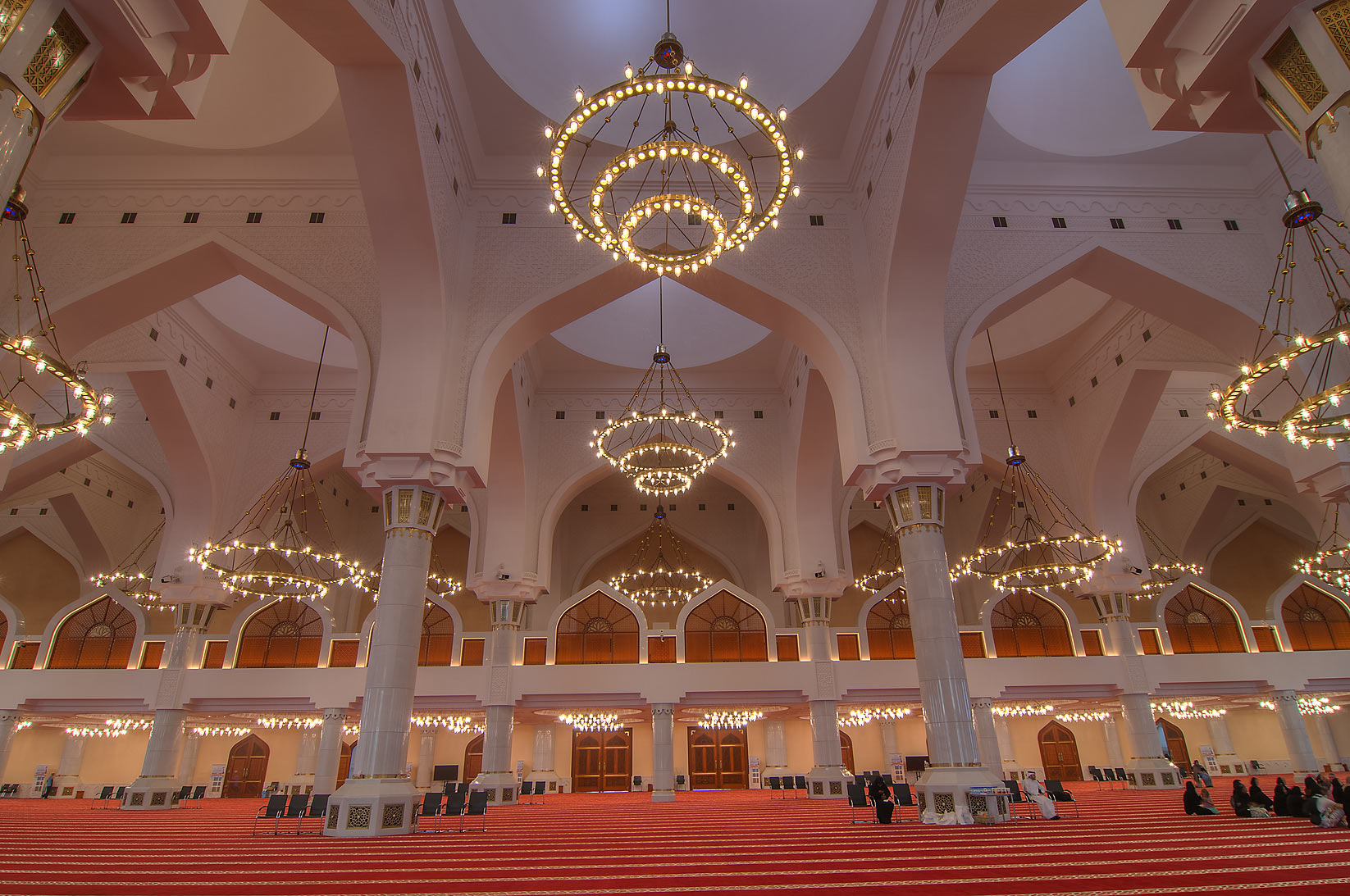 Evening interior of State Mosque (Sheikh Muhammad Ibn Abdul Wahhab Mosque). Doha, Qatar