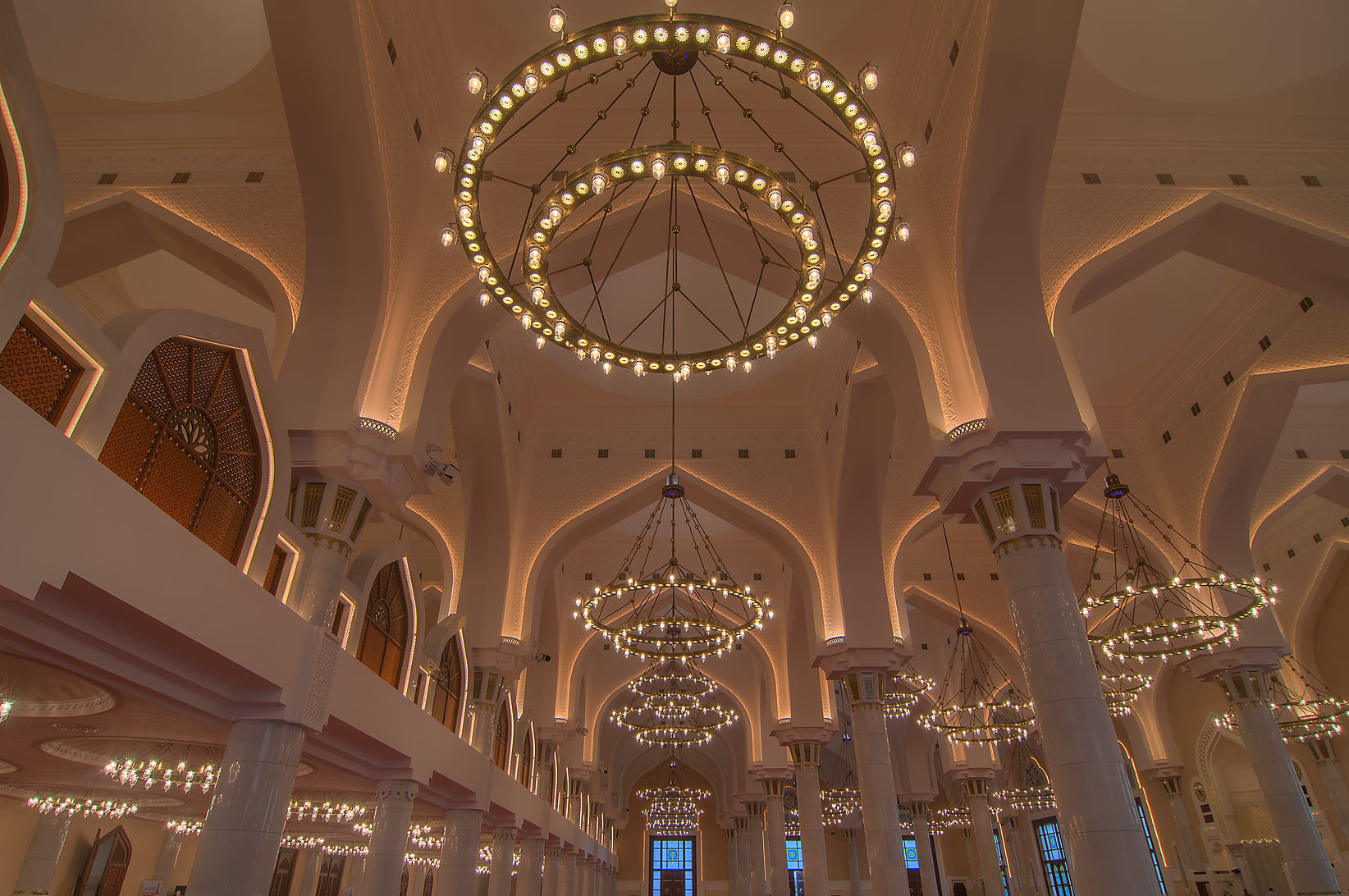 Vaulst of prayer hall (musallah) in State Mosque...Ibn Abdul Wahhab Mosque). Doha, Qatar