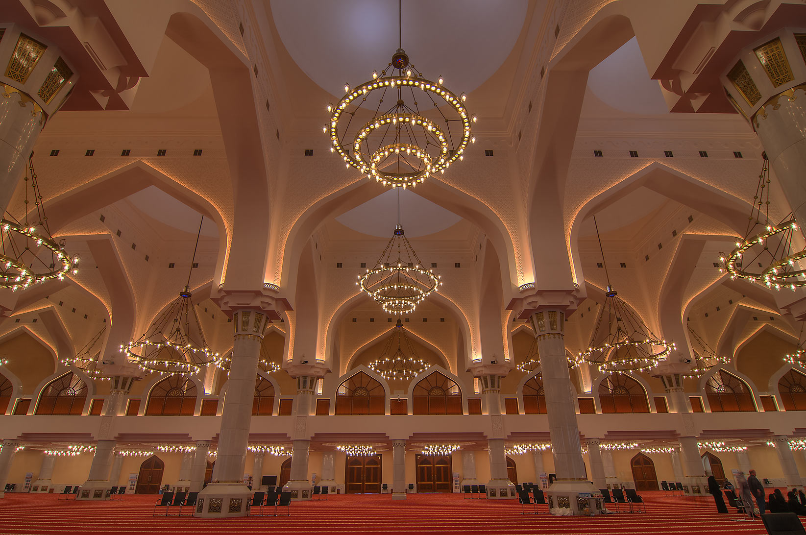 Evening lighting of prayer hall (musallah) in...Ibn Abdul Wahhab Mosque). Doha, Qatar