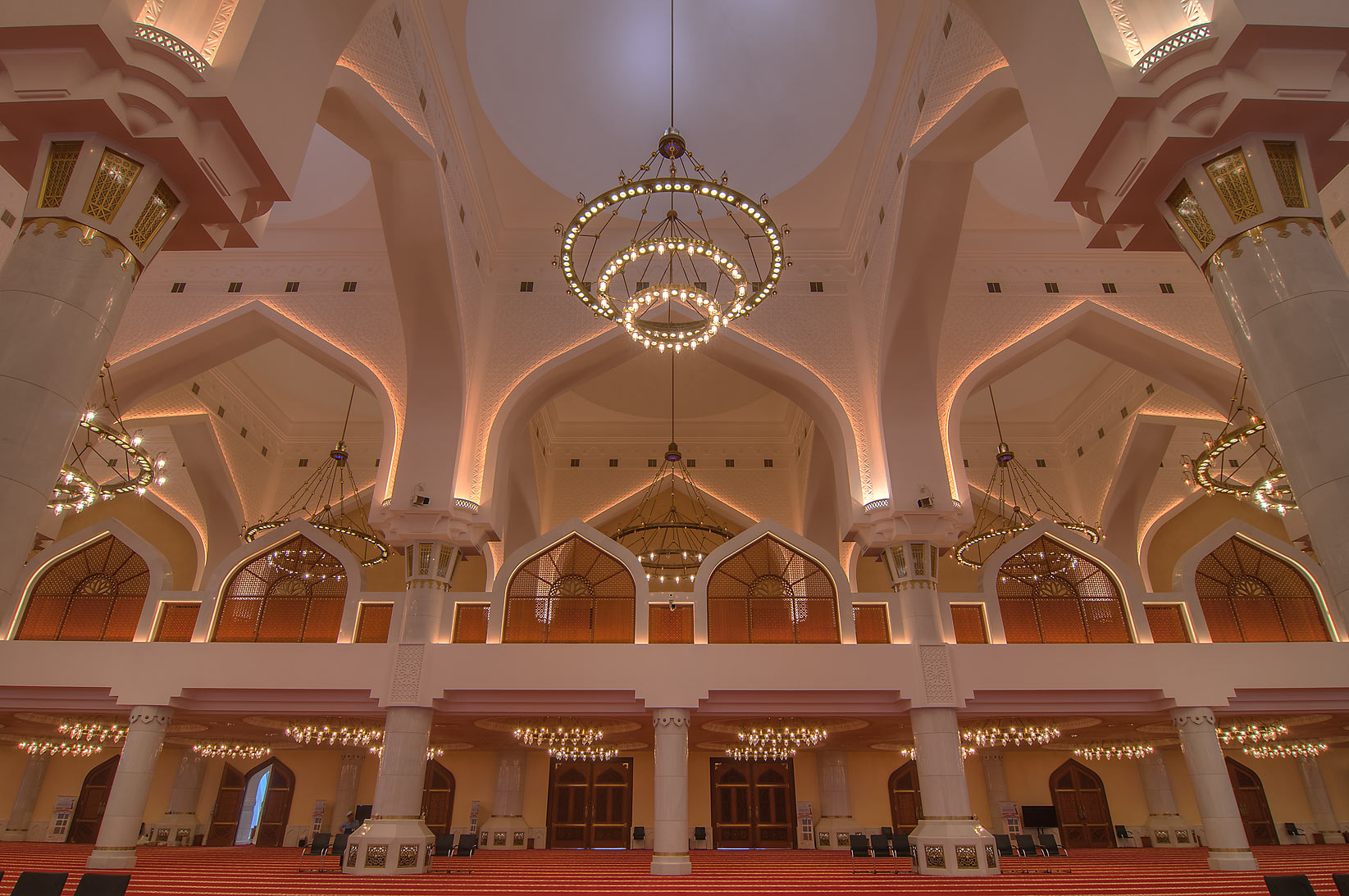 Domed prayer hall (musallah) in State Mosque...Ibn Abdul Wahhab Mosque). Doha, Qatar
