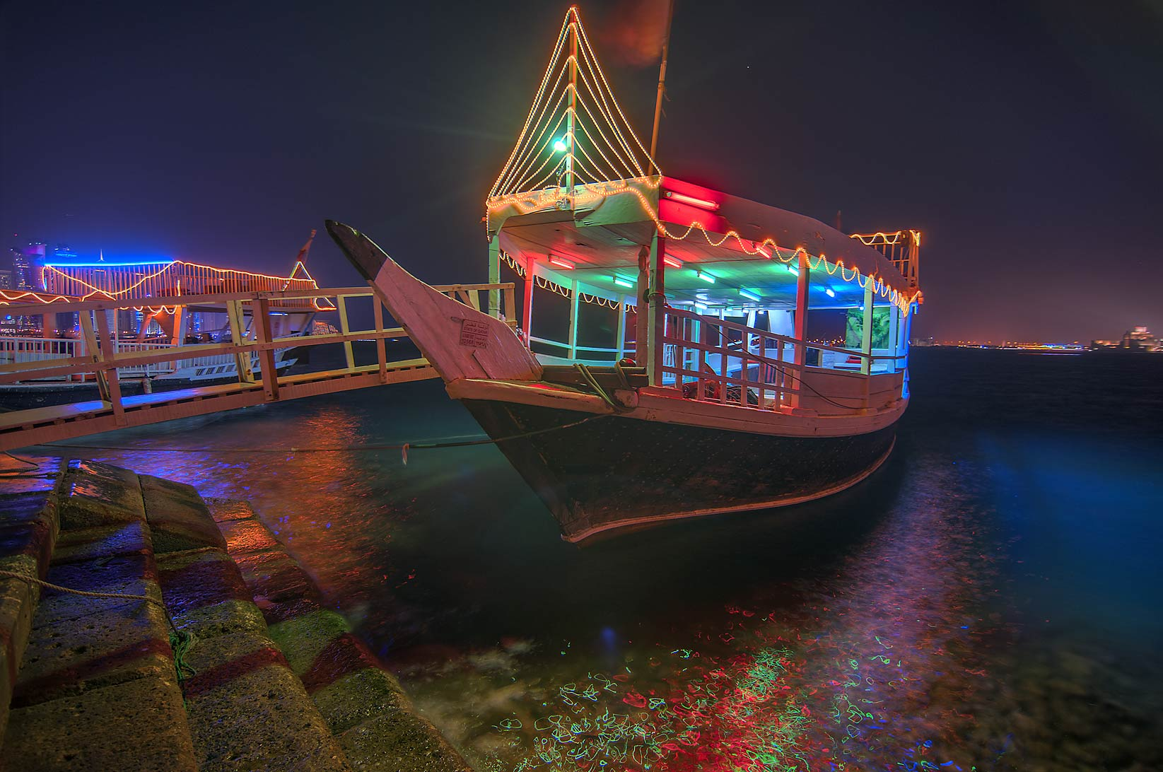 Dhow boat at Corniche at evening. Doha, Qatar