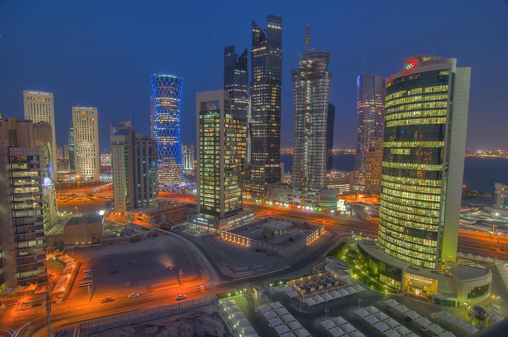 Towers to north-east, view from Apartment 17-A04...in West Bay at evening. Doha, Qatar