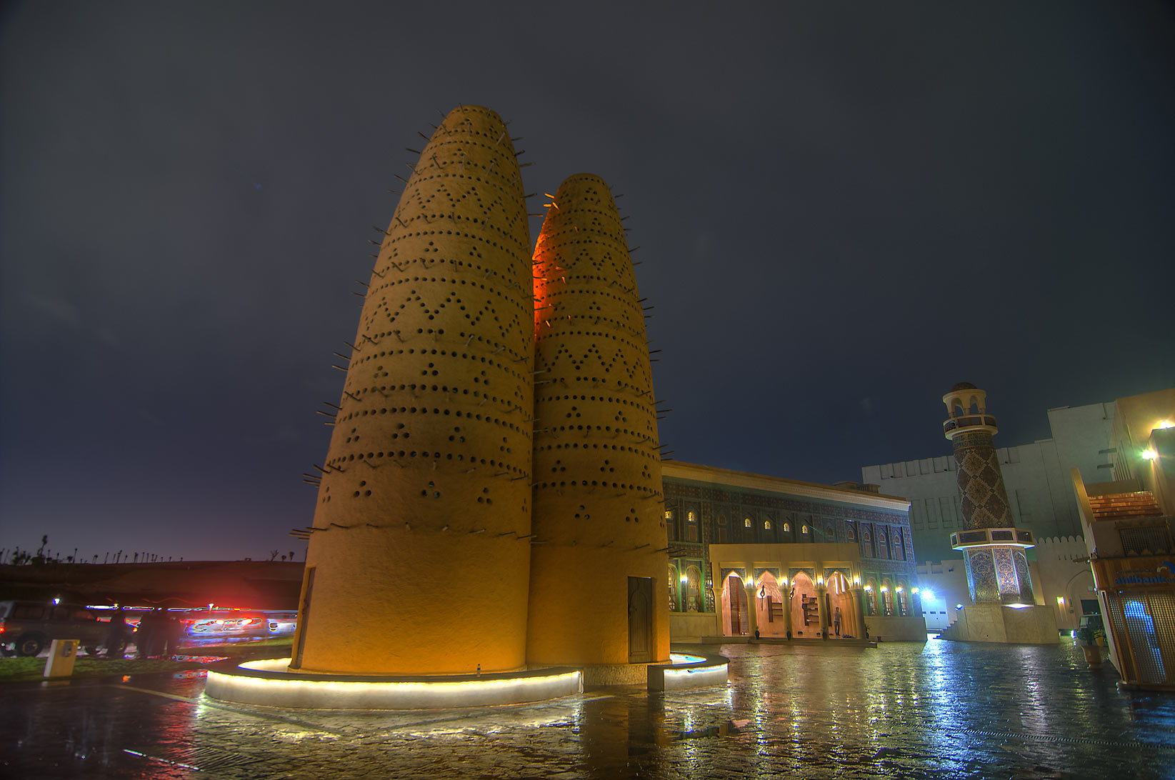 Dovecote (house for pigeons) and Iranian style...Cultural Village at rain. Doha, Qatar